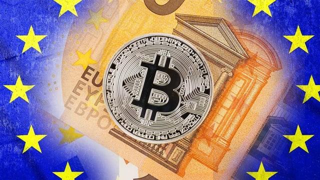 Collage: Eine Bitcoin Münze liegt einer auf Euro Note umrahmt von der EU-Flagge.