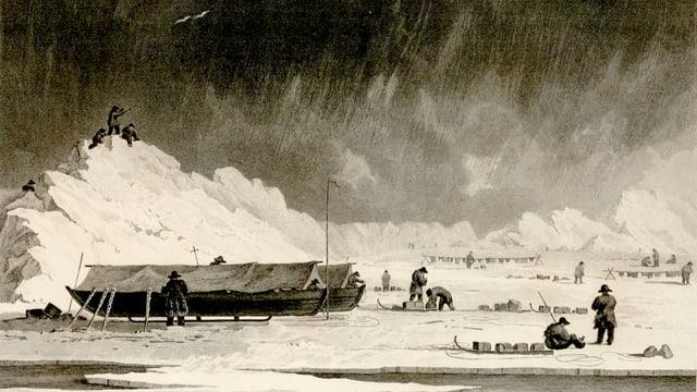 Skizze aus einem Buch: Männer neben kleinen Schlitten, daneben zwei grosse Boote auf eisigem Boden.