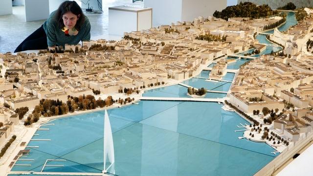 Ein Modell der Stadt Genf.