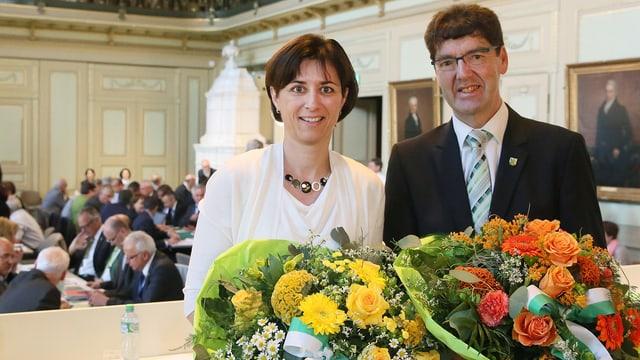 Monika Knill ist neue Regierungspräsidentin und Gallus Müller neuer Präsident des Grossen Rates.