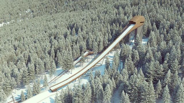 Project da la nova schanza da siglir cun skis a San Murezzan.