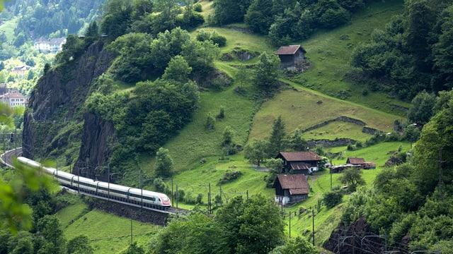 Ein Zug, der durch die Landschaft fährt.