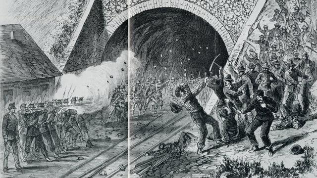 Zeitgenössische Darstellung der blutigen Niederschlagung des Streiks vom 28.7.1875