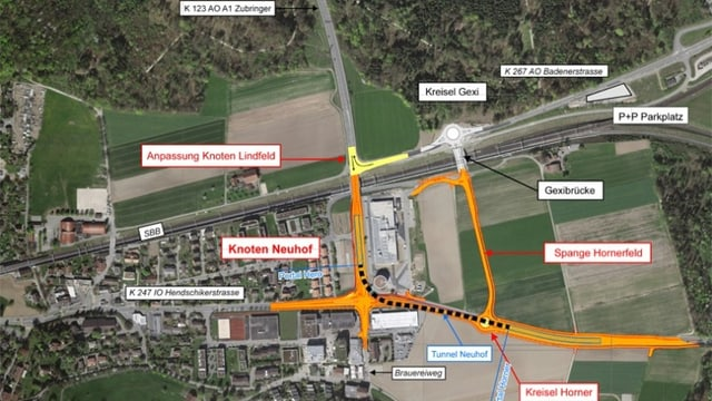 Eine Karte zeigt die verschiedenen Bauprojekte im Gebiet Autobahnzubringer A1 Lenzburg
