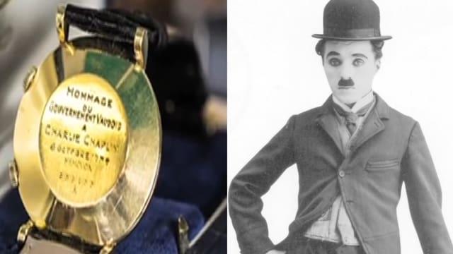 Bildmontage zweier Bilder: Auf dem rechten Bild sieht man die goldene Rückseite einer Armbanduhr. Auf der rechten Seite ist Charlie Chaplin zu sehen.