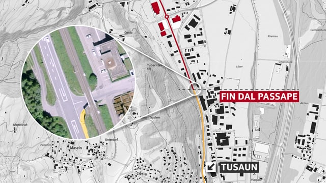 Carta da Tusaun cun il project per in passape