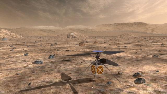 Ina grafica dal Mars cun helicopterin.