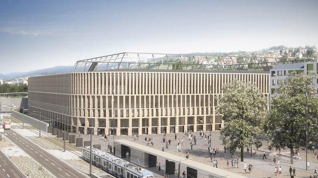 Visualisierung des neuen Fussballstadions auf dem Zürcher Hardturm-Areal.