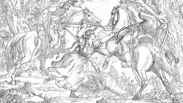 Zeichnung: Frau mit Heugabel kämpft gegen Reiter