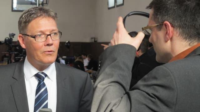 Roland Fürst (CVP) im Gespräch mit Regionaljournal-Redaktor Marco Jaggi.