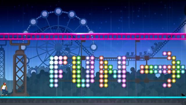 Ein grosse, farbige Neonleuchte behauptet, das sei «Fun» hier.