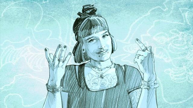 Illustration einer jungen Frau mit Pony und Tätowierungen.