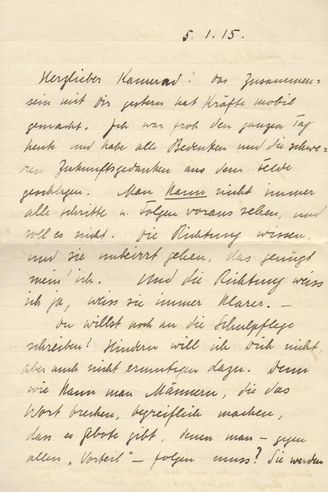 Ein Brief von Mathilde Le Jeune-Jehle an ihren Mann.