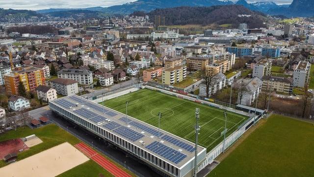 Das neue Stadion des SCK aus der Luft. Keine Leute sind zu sehen.