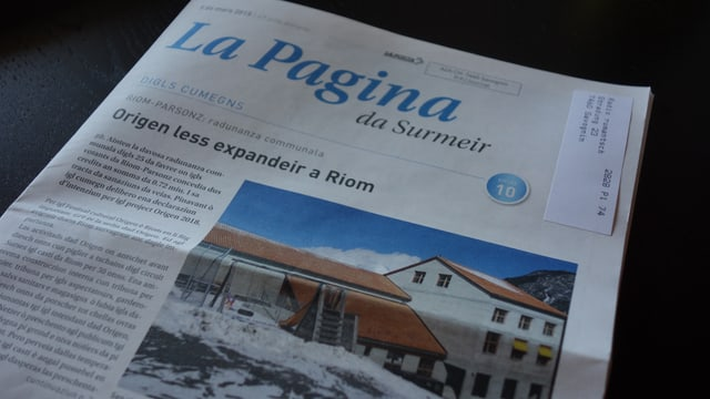"in exemplar da la gasetta ""La Pagina da Surmeir"""