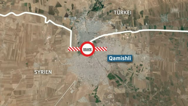 Karte von Qamishli an der türkischen Grenze.