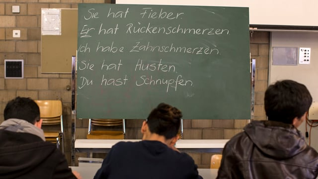 Drei junge Männer sitzen mit dem Rücken zur Kamera an einem Tisch. An einer Wandtafel stehen deutsche Sätze.