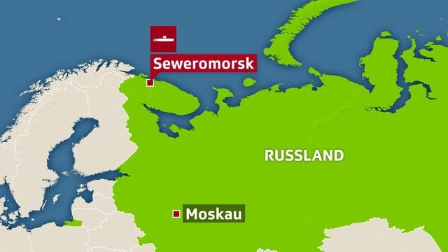 Karte, auf der im Norden Russlands der Hafen von Seweromorsk eingezeichnet ist.