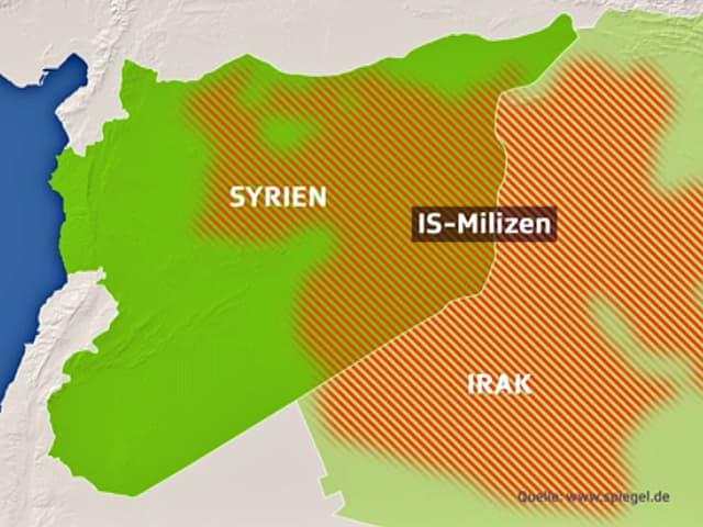 Karte Naher Osten, Syrien und Irak und die Ausbreitung des IS.