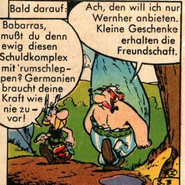 Asterix und Obelix in einer alten, deutschen Comic.
