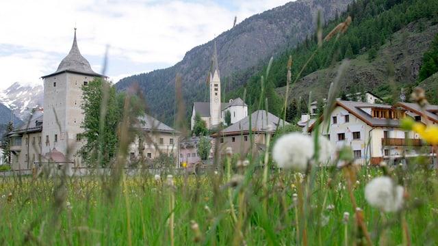 Blick auf das Dorf Zernez