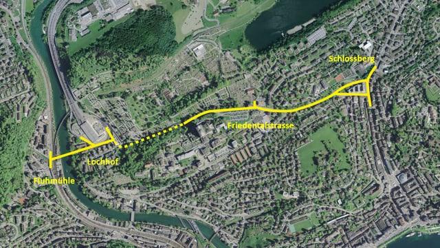 Luftbildausschnitt der Stadt Luzern mit eingezeichneten gelben Linien für eine Strassenprojekt.