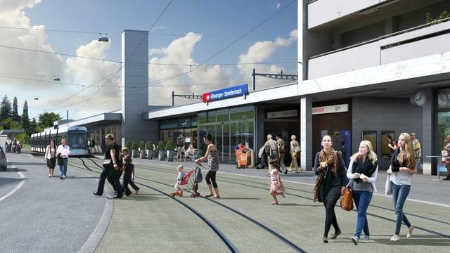 Visualisierung der Streckenführung beim Bahnhof Killwangen.