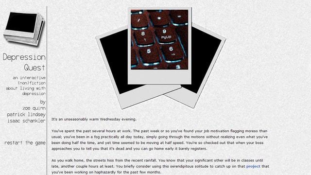 Ein Screenshot des Games «Depression Quest»