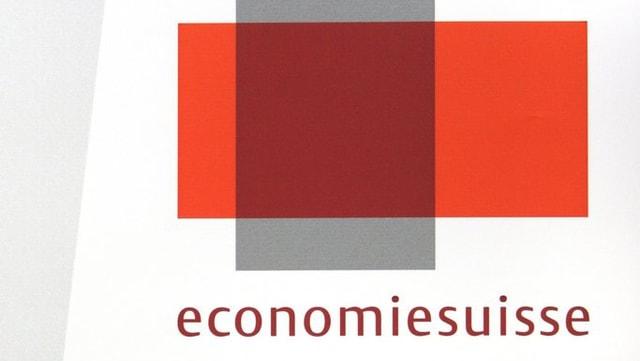 logo d'economiesuisse, rectanghel cotschen horizontal sin in rectanghel grisch vertical