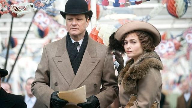 """Colin Firth und Helena Bonham Carter bei den Dreharbeiten zu """"The King's Speech""""."""