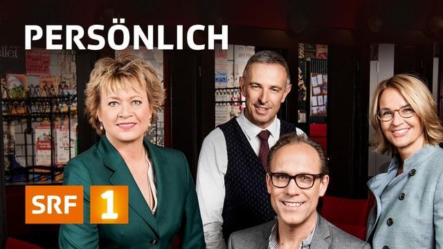 Das Moderationsteam von «Persönlich» (Daniela Lager, Dani Fohrler, Christian Zeugin und Sonja Hasler-