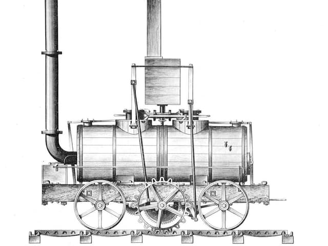 Illustration einer Dampflokomotive mit einem Zahnrad