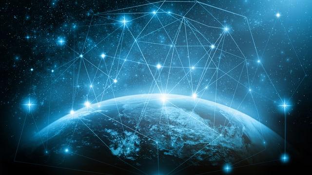 Ein Netz über der Erde.