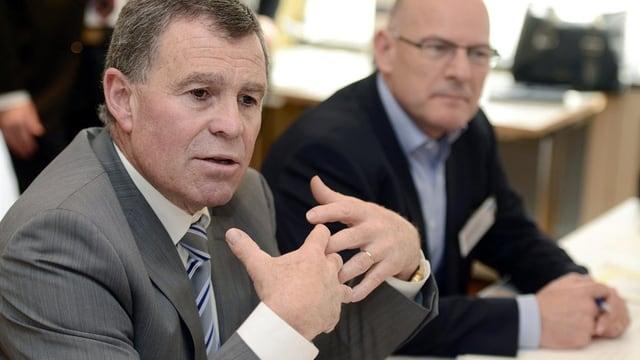 Ernst Stocker und Winfried Hermann beim ersten Treffen im März 2014 in Zürich.