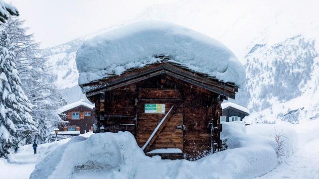 Holzhaus mit dicker Schneeschicht obendrauf.