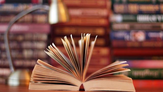 Ein Buch liegt mittig aufgeschlagen auf einem Pult. Fotografiert von vorne.