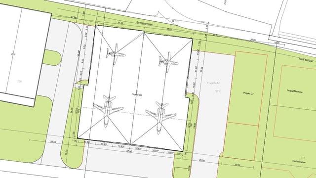 Bauplan des Hangars