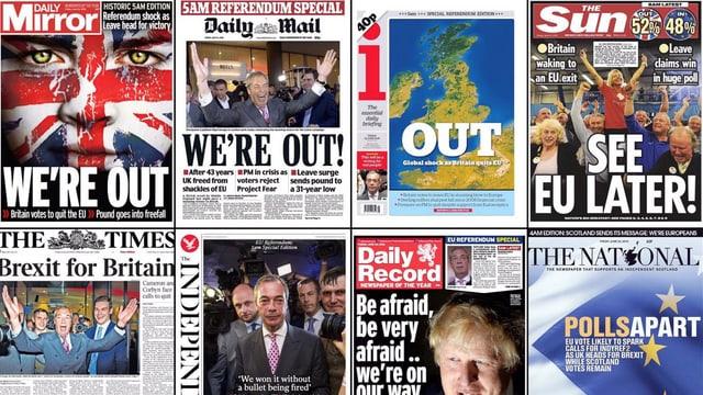 Frontseiten der britischen Zeitungen nach dem Referendum