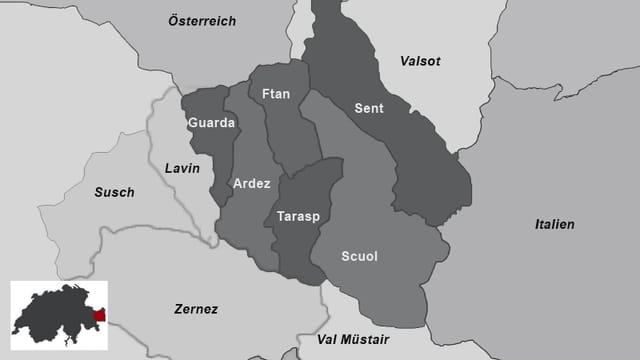 Karte der Gemeinden im Unterengadin