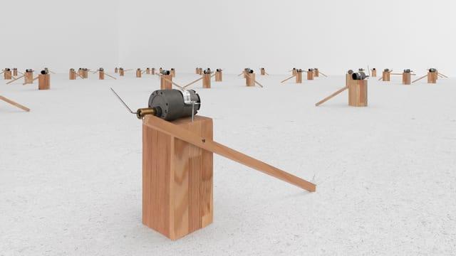 Zimoun macht Kunst: Motoren bewegen eine Holzleiste. Diese erzeugt einen Klang - jedesmal wenn sie am Boden auftrifft.