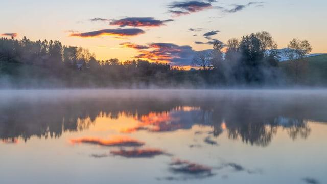 Der See raucht. Flache, dünne Nebelschwaden ziehen über den Dittligsee.