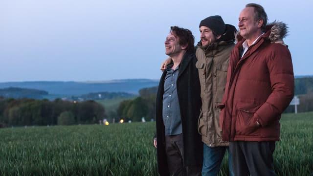 Drei lachende Männer stehen in einem Feld.