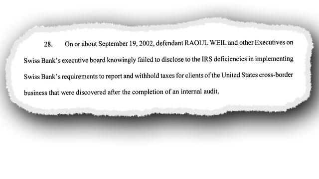 Ausschnitt aus der Anklageschrift gegen Raoul Weil