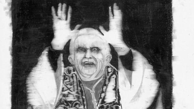 eine schwar-weiss Zeichnung des Papstes
