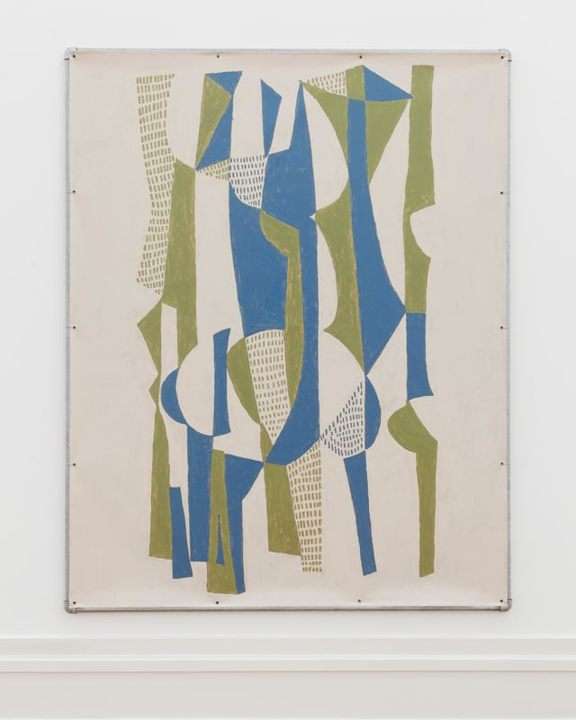 Gemälde mit abstrakten, grünen und blauen Formen