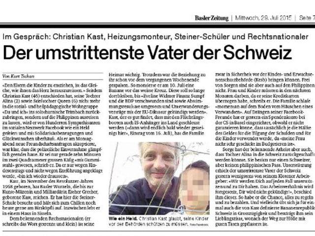 """Der """"umstrittenste Vater der Schweiz"""" titelt die """"Basler Zeitung"""" im Juli 2015."""