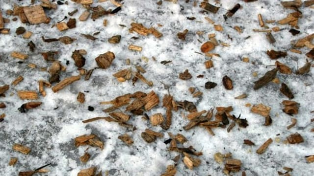 Holzschnitzel auf Schnee