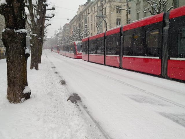 Mehrere Trams hintereinander auf schneebedeckter Strasse.