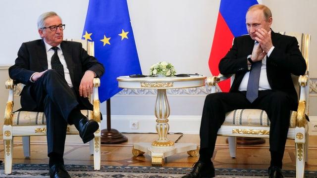 Jean-Claude Juncker und Vladimir Putin sitzen vor EU- und Russlandfahne.
