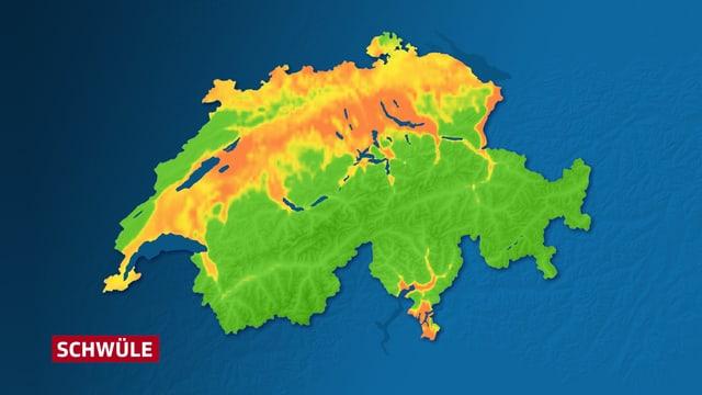 Auf einer Schweizerkarte sind die Regionen mit hohen Taupunkten orange eingefärbt: die Region Basel, das Mittelland, einige Alpentäler sowie das Mittel- und Südtessin.
